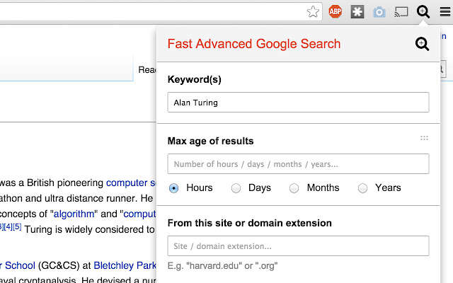 Fast Advanced Google Search