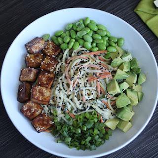 Spiralized Vegetable Tahini Bowl with Tofu, Edamame & Avocado