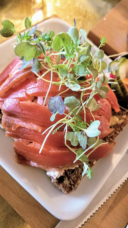 Brunch at Broder Nord - Smørrebrød, Danish Open Faced Sandwiches where you can choose two of five options, we picked the Gravlax with shrimp skagenröra, radish, mustard sauce, microgreens and the Beet and Asparagus with asparagus, beets, and chevre