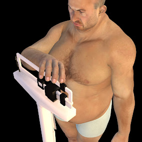 Unhappy Overweight Man on a doctors scale  by Emily Fnm3d - Illustration People ( unhappy, guy, male, fat, chubby, obesity, bald, unimpressed, weight problem, arnie, overweight, lard, medical scale, man )
