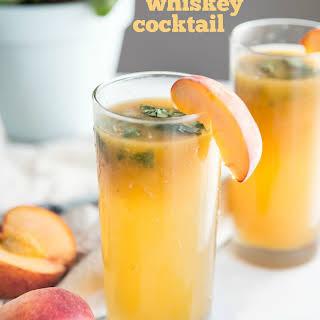 Peach Basil Whiskey Cocktail.