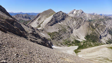 Photo: The way down - You can see the trail that we followed to Headquarters Pass.