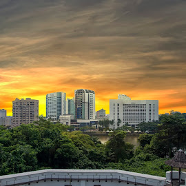 Sunset in Kuching City by PENDI KAMRI - City,  Street & Park  Skylines ( sky, city, sunset, skyscraper, clouds, skyline )