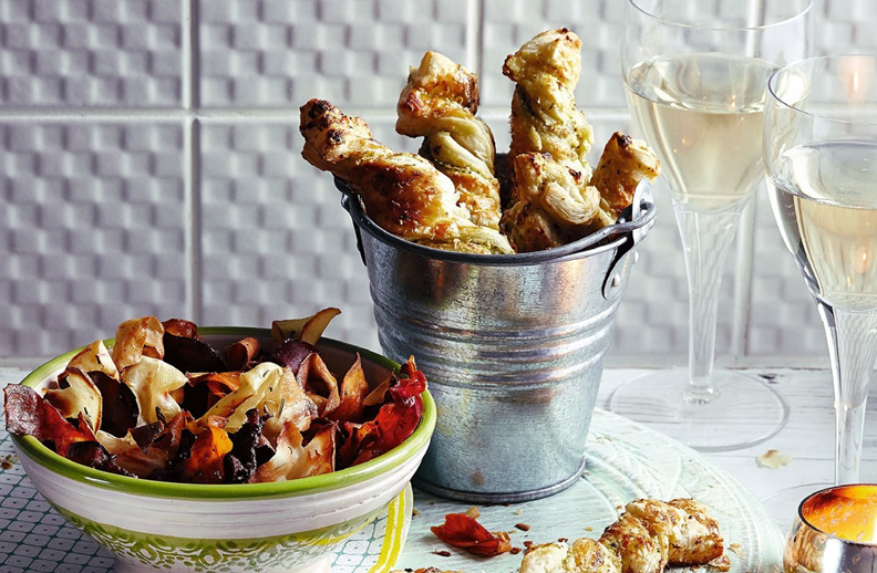 6. Vegetable crisps and cheesy pesto twists
