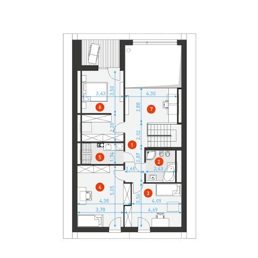 Dostępny 4A - Rzut poddasza - wymiary szczegółowe