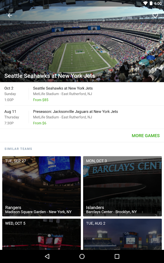 SeatGeek Event Tickets- screenshot