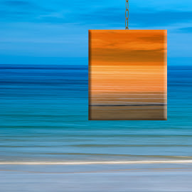 Inspired by Magritte 2 by Katherine Rynor - Digital Art Abstract ( colour, orange, magritte, blue, sea, motion blur )
