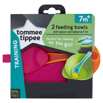 Tommee Tippee Training 2 Feeding Bowls With Spoon & Leakproof Lid