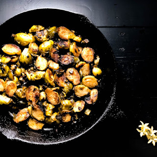 Cajun Pan Fried Brussels Sprouts.