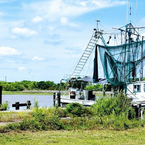 Shrimpin in  the Bayou by Stacey Witherwax - Transportation Boats