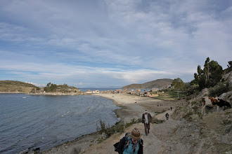 Photo: Hiking on the Isla del Sol towards the Inca or pre-Inca site on the other coast.