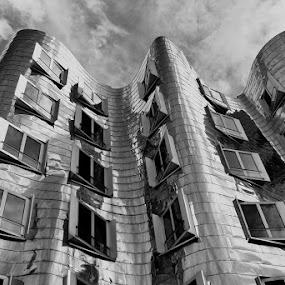 Edelstahlfassade  by Elke Krone - Black & White Buildings & Architecture ( düsseldorf medienhafen,  )