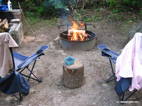 Photo: Campfire and blueberries at Big Deer State Park by Matt Parsons