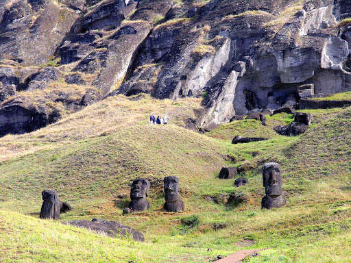Moai in the quarry on Easter Island. Almost 900 giant stone figures on the island date back many centuries.