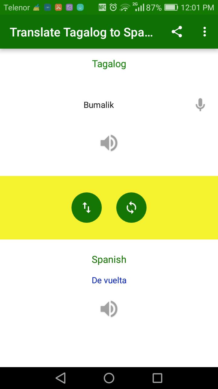Скриншот Translate Tagalog to Spanish
