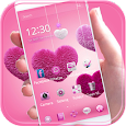Fluffy love Theme Pink heart apk