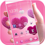 Fluffy love Theme Pink heart Icon