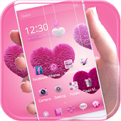 Fluffy love Theme Pink heart
