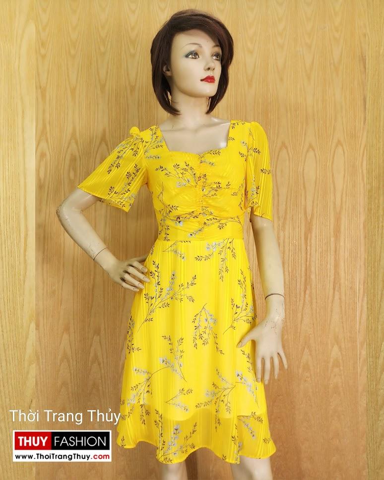Váy xòe tay loe xếp nhún màu vàng V679 thời trang thủy hải phòng