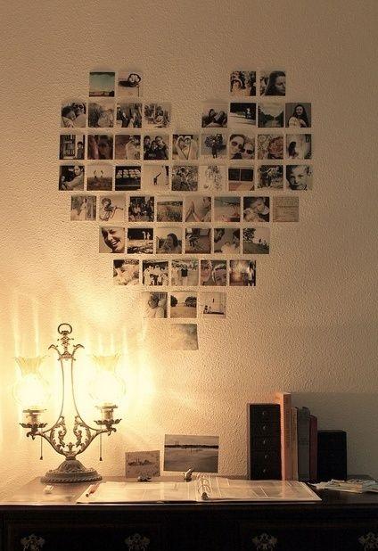 moldura com fotos de família em formato de coração