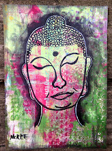Photo: Buddha. 5 x 7 inches or 13 x 18 cm. Acrylics and ink on found paper. Signed. Sealed with a matte finish. ©Marisol McKee