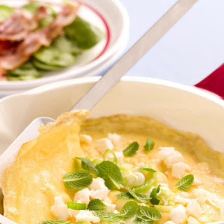 Feta and Mint Omelettes with Crispy Bacon
