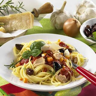 Spaghetti with Tomato, Tuna and Olive Sauce.