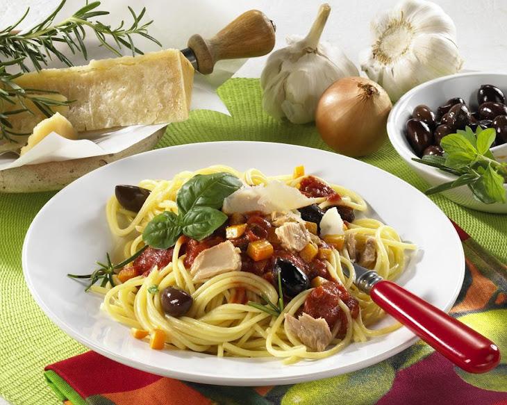 Spaghetti with Tomato, Tuna and Olive Sauce Recipe   Yummly