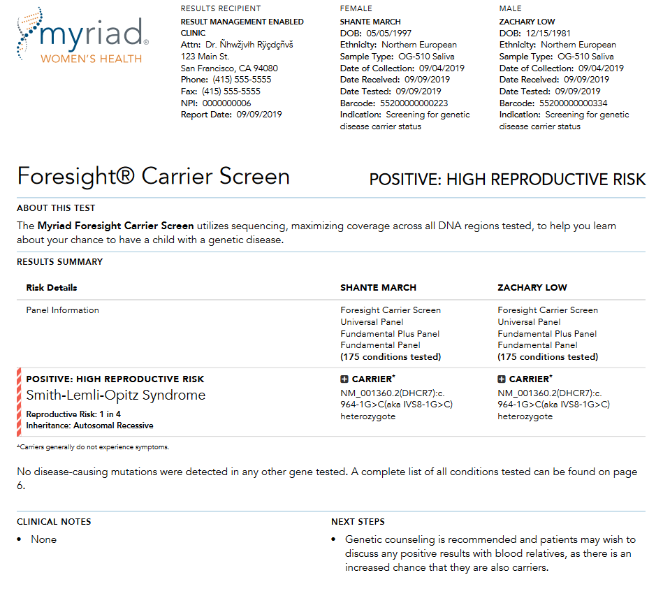 The first page of the Myriad Genetics Foresight Carrier Screen couples report.