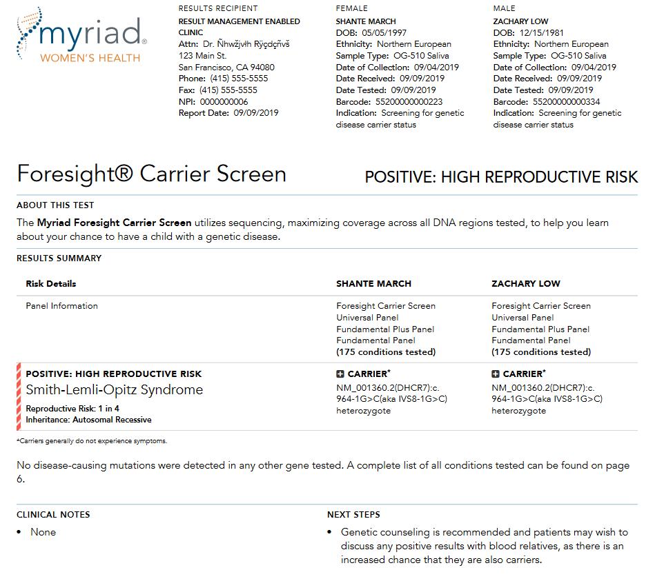 Первая страница отчета о парах Myriad Genetics Foresight Carrier Screen.