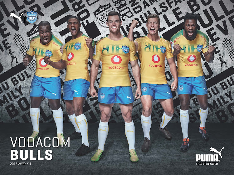 Blue Bulls players display the rugby team's new away kit, which is a tribute to Pretoria soccer team Mamelodi Sundowns, in a Puma promotional picture.