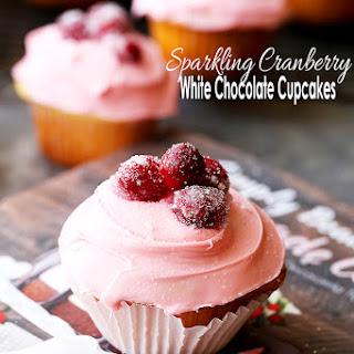 Sparkling Cranberry White Chocolate Cupcakes.