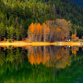 Double Double by  J B  - Landscapes Waterscapes ( calm, mirror, water, reflection, alison lake, fall )