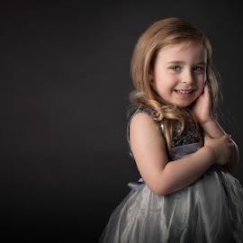 4 year milestone by Patricia Wouterse - Babies & Children Child Portraits ( milestone, studio, blonde, fineart, girl, grey )