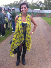 Photo: Mesh and leather leggings with a splash of yellow