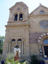 Photo: Old church (Catedral Basilica de San Fransisco de Assisi) in Santa Fe (although not the oldest (in the U.S.) - that's  a few blocks away). Parts of this building were built in the early 1600s. The statue is of the first Native American (from North America) to be declared a saint.