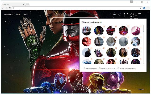 Power Rangers Custom New Tab by freeaddon.com