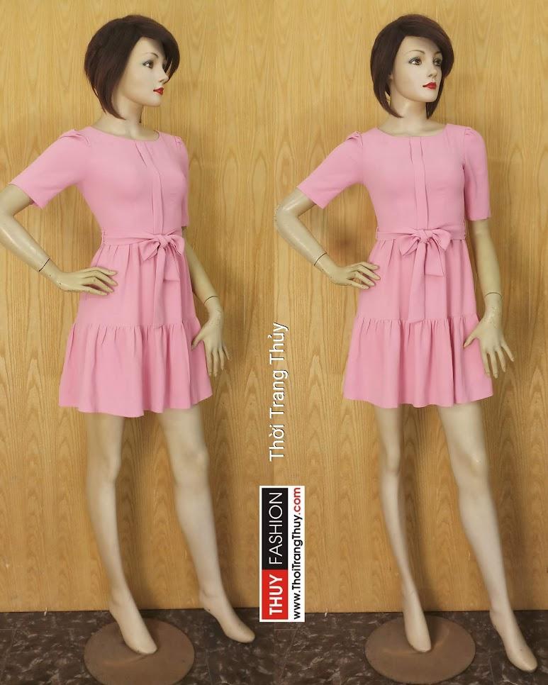 Váy xòe công sở thắt nơ đai eo hồng thạch anh V625 tại Hải Phòng