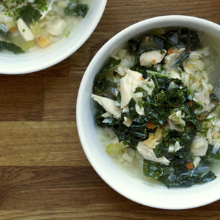 Chicken and Rice Soup with Young Collard Greens, Parsnips and Rutabaga
