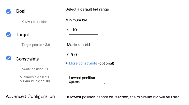Bid strategy settings with minimum and maximum bids and lowest position constraint shown