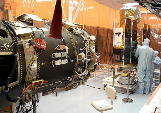 Foreign object debris shields are installed and a borescope inspection is conducted on the GALEX spacecraft in the Payload Hazardous Servicing Facility.