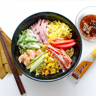 Hiyashi Chuka (Cold Ramen) With Shrimp, Ham, and Vegetables