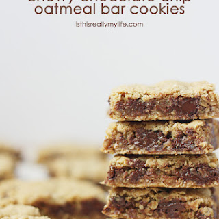 Chewy Chocolate Chip Oatmeal Bar Cookies.