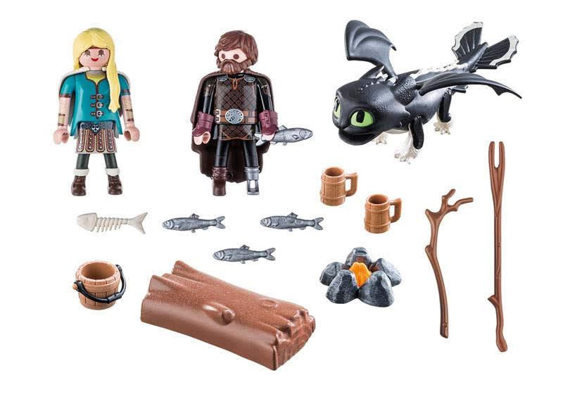 Contenido real de Playmobil® 70040 Hipo y Astrid con Bebé Dragón