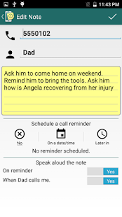 Call Notes Reminder app - náhled