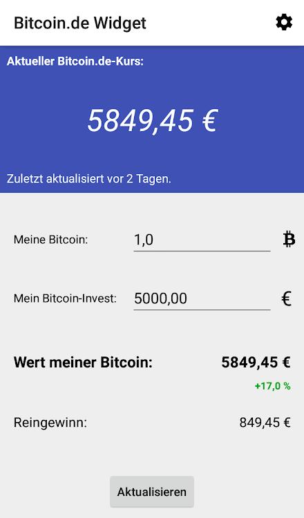 Widget für Bitcoinde: Kurs, Wert & Gewinn