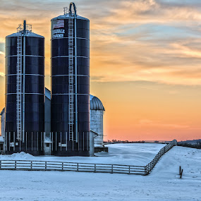 Winter After Glow On The Farm by Angelo Marcialis - Buildings & Architecture Other Exteriors ( er #landscape #farms #hudsonvalley,  )