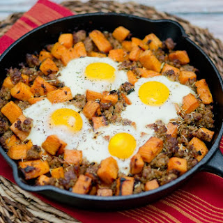 Sweet Potato Hash with Sausage and Eggs.