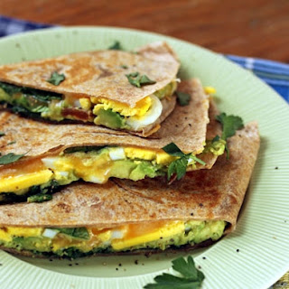 Breakfast Quesadillas With Smashed Avocado, Eggs And Spinach