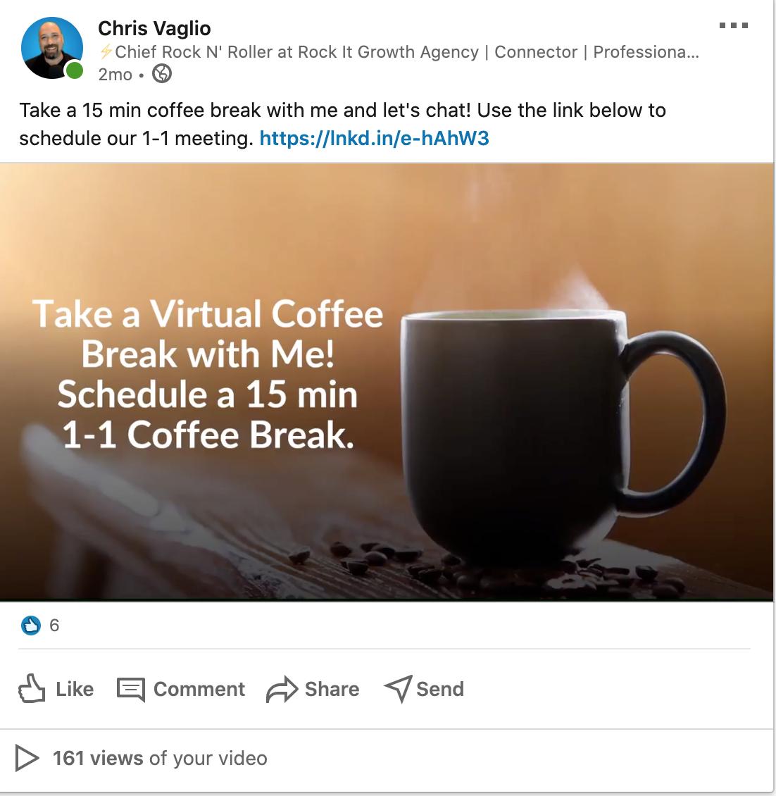 Virtual Coffee Post on LikedIn